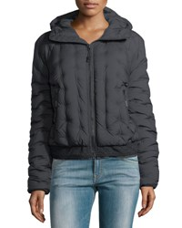 The North Face Quilted Puffer Hooded Bomber Jacket Black