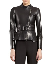 Gucci Black Leather Zip Front Jacket