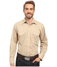 Roper 0487 Solid Broadcloth Khaki Brown Men's Clothing