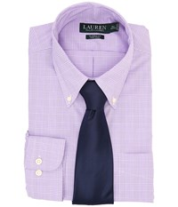 Lauren Ralph Lauren Ni Poplin Check Stretch Classic Button Down Pocket Shirt Purple White Men's Long Sleeve Button Up