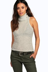 Boohoo Brushed Knit Sleeveless Cowl Neck Jumper Silver