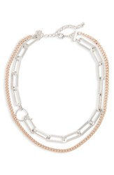 Nordstrom Women's Double Row Link Necklace Rhodium Rose Gold