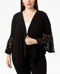 R And M Richards Plus Size Lace Bell Sleeve Cardigan Black