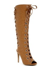 Legend Footwear Berlin Front And Back Laced Boot Stiletto Brown