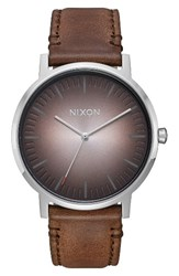 Nixon Men's Porter Round Leather Strap Watch 40Mm Brown Ombre Silver