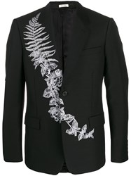 Alexander Mcqueen Frosted Fern Embroidered Single Breasted Blazer Black