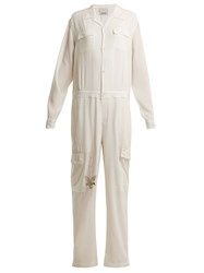 Mhi Eagle Tour Silk Jumpsuit White