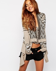 Abercrombie And Fitch Patterned Drape Front Cardigan Geopattern