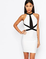 Lipsy High Neck Bandage Bodycon Dress With Contrast Strap Detail White