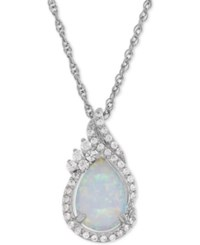 Macy's Lab Created Opal 3 4 Ct. T.W. And White Sapphire 1 4 Ct. T.W. Teardrop Pendant Necklace In Sterling Silver