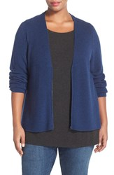 Plus Size Women's Eileen Fisher Zip Front Boxy Merino Wool Cardigan