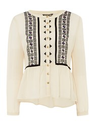 Biba Embroidered 1940S Style Blouse Ivory