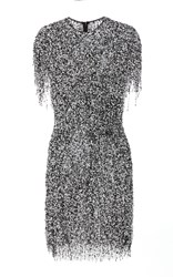 Naeem Khan Sequin Embroidered Mini Dress Black White