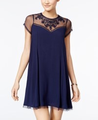 Trixxi Juniors' Embroidered Illusion Shift Dress Navy