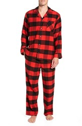 Nordstrom Shop Family Father Flannel Pajamas Red Bloom Large Buffalo Check