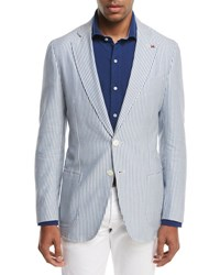 Isaia Domenico Striped Seersucker Two Button Sport Coat White Blue
