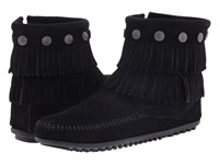 Minnetonka Double Fringe Side Zip Boot Black Suede Women's Zip Boots