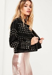 Missguided Petite Black Faux Leather Studded Biker Jacket