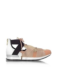 Vionnet White Leather And Multicolor Elastic Bands Sneakers Nude