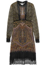 Etro Lace Trimmed Printed Silk Georgette Dress Brown
