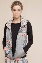Anthropologie Perennial Puffer Vest Grey Motif
