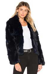 Adrienne Landau Fur Collar Rabbit Jacket Navy