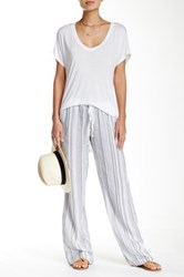 Allen Allen Striped Linen Beach Pant White