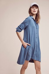 Anthropologie Farryn Laced Back Shirtdress Blue