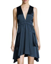 A.L.C. Nahia Deep V Cutout Waist Sleeveless Satin Dress Blue
