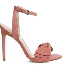 Office Harmony Bow Trim Nubuck Sandals Blush Pink Nubuck