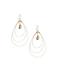 Rafia 3 Hoop Teardrop Earrings W Smoke Topaz Center Golden