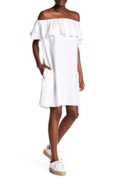 Beach Lunch Lounge Off The Shoulder Twill Dress White