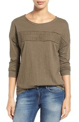Women's Caslon Eyelet Trim Three Quarter Sleeve Tee Olive Tarmac