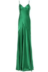 Amanda Wakeley Woman Fluted Satin Gown Green