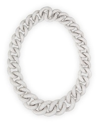 18K White Gold Diamond Chain Link Necklace Leo Pizzo
