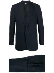 Burberry Puppytooth Check Patterned Suit Blue