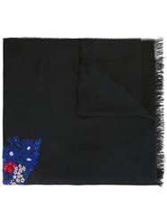 Gucci Snake Floral Embroidered Shawl Black