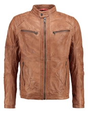 Tom Tailor Denim Leather Jacket Caramel Tobacco Brown Light Brown