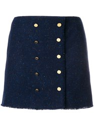 Thom Browne Front Buttoned Frayed Mini Skirt Blue