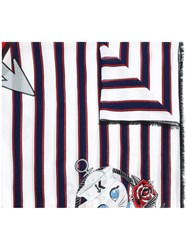Karl Lagerfeld Striped Print Scarf White