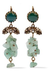 Isabel Marant Gold Tone Stone And Crystal Earrings Green
