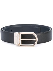 Ermenegildo Zegna Light Gold Buckle Belt Men Calf Leather 110 Black