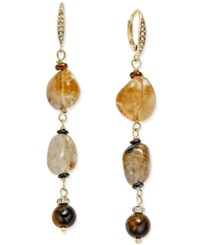 Paul And Pitu Naturally 14K Gold Plated Tiger's Eye Citrine Drop Earrings Multi