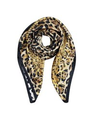 Roberto Cavalli Animal Print And Stars Pure Silk Square Scarf Brown