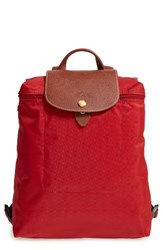 Longchamp 'Le Pliage' Backpack Red Burnt Red