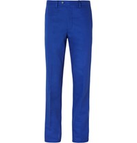 Mp Massimo Piombo Blue Cotton Twill Trousers Cobalt Blue