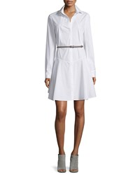 Halston Long Sleeve Belted Structured Shirtdress White