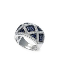 Effy Final Call 0.76Tcw Diamonds Natural Sapphire And 14K White Gold Ring