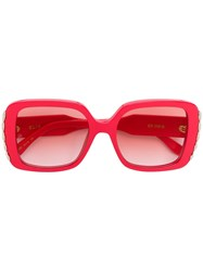 Elie Saab Oversized Square Sunglasses Red