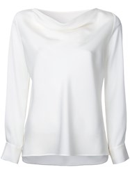 Estnation Cowl Neck Satin Blouse Women Polyester Triacetate 38 White